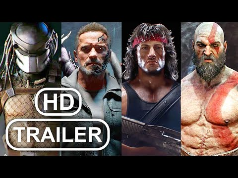 (New) Mortal kombat all guest crossover trailers mk11 (2020) rambo vs terminator vs predator vs kratos hd