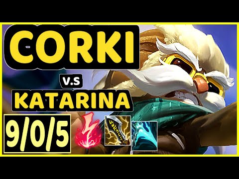 (New) Corki vs katarina - 9 0 5 kda mid challenger gameplay - na