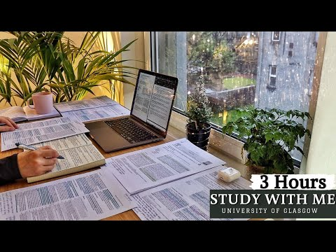 (New) 3 hour study with me | background noise, rain sounds, 10-min break, no music