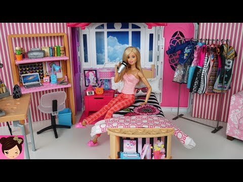 (New) Barbie youtube morning routine - pink bedroom tour make up tutorial - fun toy videos