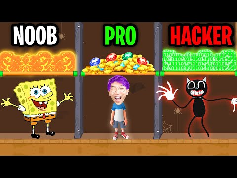 (New) Can we go noob vs pro vs hacker in pull him out!? (funny app puzzle game!)