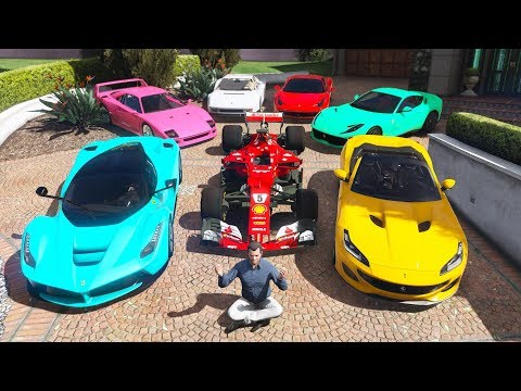 (New) Gta 5 - stealing luxury ferrari cars with michael! (real life cars #06)