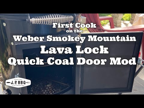 (New) First cook on the weber smokey mountain - lava lock quick coal door mod