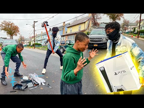 (New) Destroying kids ps4 in the hood e surprising with a ps5 !!! (hilarious)