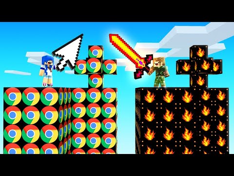 (New) Ilha do chrome vs ilha do fogo | minecraft ilha lucky block