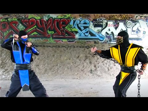 (New) Real mortal kombat - scorpion vs sub zero fight! (mk parody)