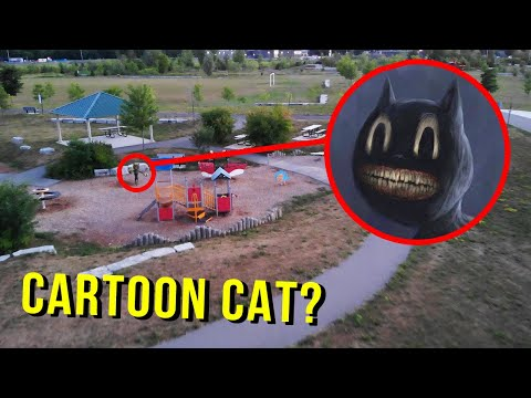(New) Drone catches cartoon cat at haunted park!! (we found him!)