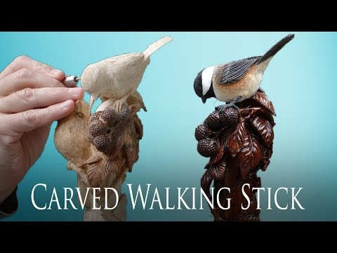 (New) Wood carved chickadee and blackberry bramble walking stick