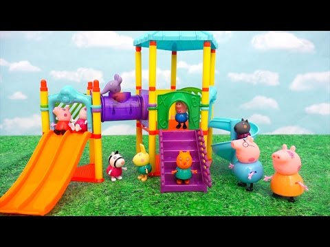 (Ver Filmes) Peppa pig at the park playground ! toys and dolls family fun for kids | swtad kids