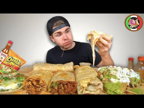 (New) Cheesy mexican food mukbang round 2! burritos, loaded tostada, fish taco +