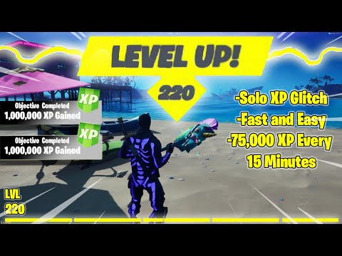 (New) *afk* solo xp glitch ! 75,000 xp every 15 minutes ! (level 220 right now) fortnite glitches