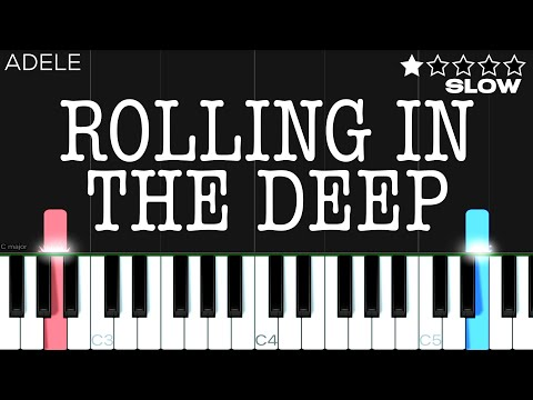 (New) Adele - rolling in the deep   easy slow piano tutorial