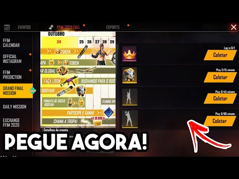 (HD) 🔥 como pegar todas as recompensas do evento dia do booyah no free fire! emotes, skin e mais!!