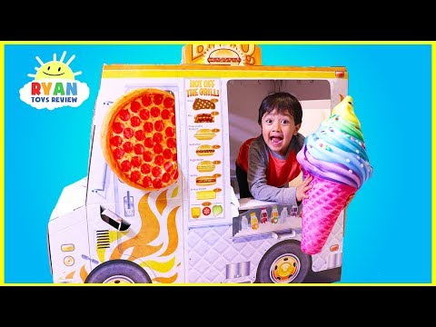 (New) Ryan pretend play with food truck cooking playhouse!