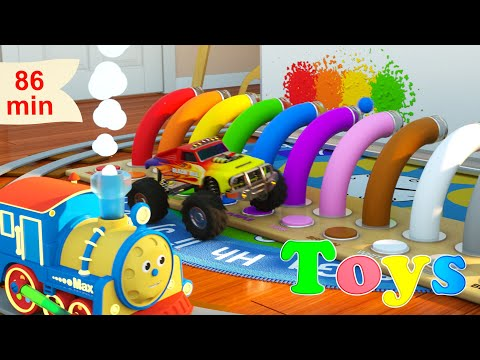 (Ver Filmes) Learn numbers, shapes, colors and more with max the glow train | 8 cartoons with max and friends!