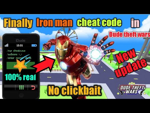 (New) Finally iron man cheat code in dude theft wars (nobody knows) 100% real