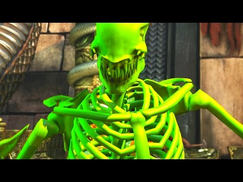 (New) Mortal kombat xl all characters react to aliens green skeleton intro (entrance 1)