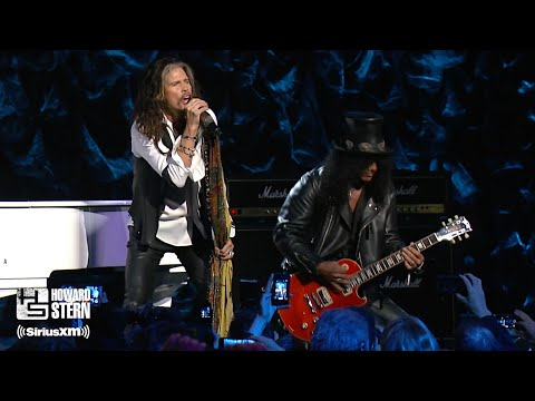 "(New) Steven tyler, slash, and train ""dream on"" at the howard stern birthday bash (2014)"
