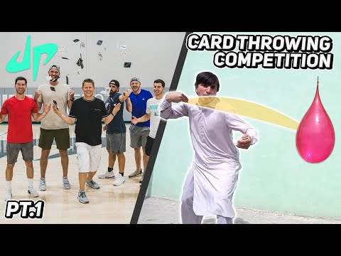 (New) Card throwing competition with dude perfect | pt. 1