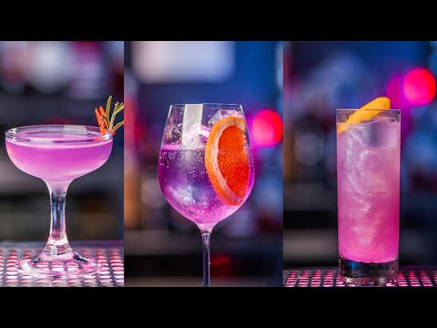 (HD) Top 5 cocktails with color changing gin
