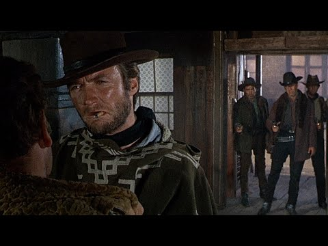 (New) For a few dollars more - clint eastwoods entrance (1965 hd)