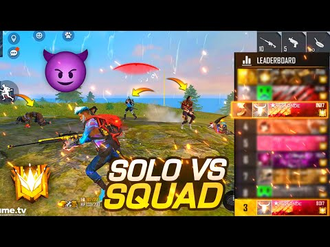 (New) Best solo vs squad moments in grandmaster - gaitonde in regional top 3 || garena free fire