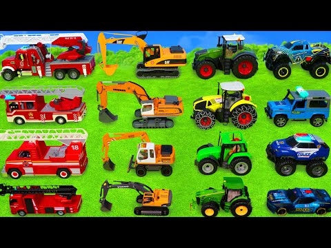 (VFHD Online) Excavator, dump trucks, tractor, police cars e fire truck toy vehicles for kids