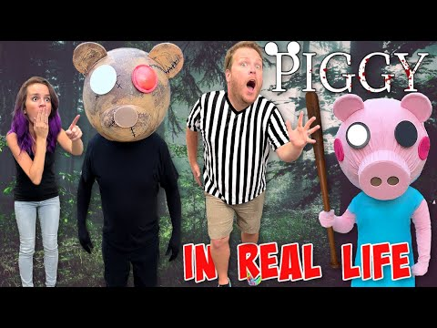 (HD) Roblox piggy in real life - prohacker trapped us in the forest with new piggy skins!