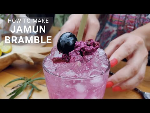 (HD) How to make a bramble cocktail at home with quick jamun jam and vodka | cocktail recipes