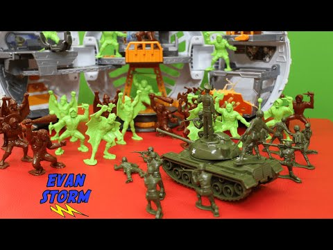 (New) Plastic army men vs alien warriors tim mee toy father and son unboxing and play