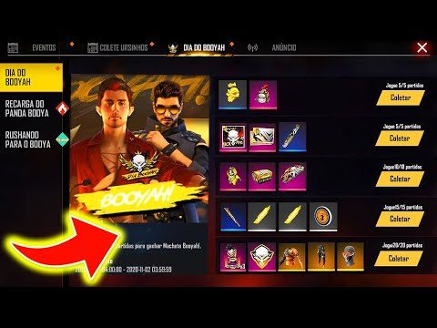 (New) Como pegar todas as skins no evento booyah sem gastar nada no free fire!!