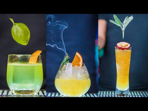 (HD) How to make cocktails with the most popular herbs | gin basil smash |thyme | sage | rosemary | mint