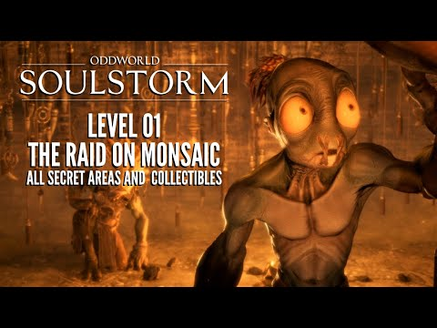 (New) Oddworld: soulstorm | level 1: the raid on monsaic - all secret areas and collectibles!