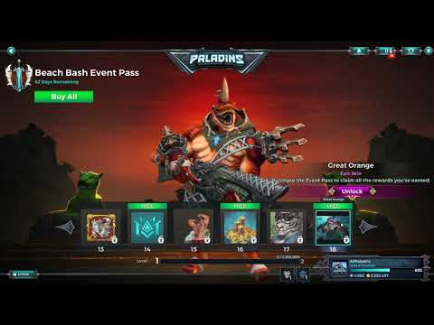 (New) Paladins 4.3 shadow event pass 2 all items, all levels, free and paid path