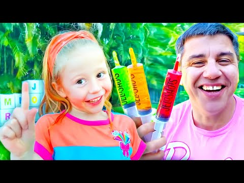 (New) Nastya and dad open boxes with surprises to learn the alphabet.