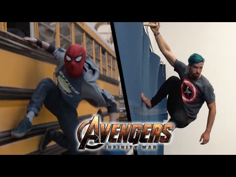 (Ver Filmes) Stunts from avengers infinity war in real life (marvel, parkour)