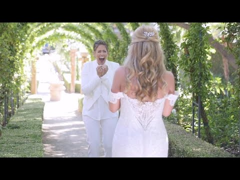 (New) Bride has best first look reaction in california lesbian wedding | sj videography | love stories tv