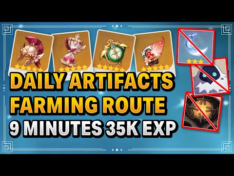 (New) Daily artifacts farming route no resin needed (best route) not elite boss farming | genshin impact