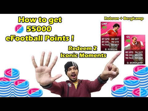 (New) How to get 55000 efootball points | redeem robson and bergkamp | pes mobile | pes 2021 | trick |