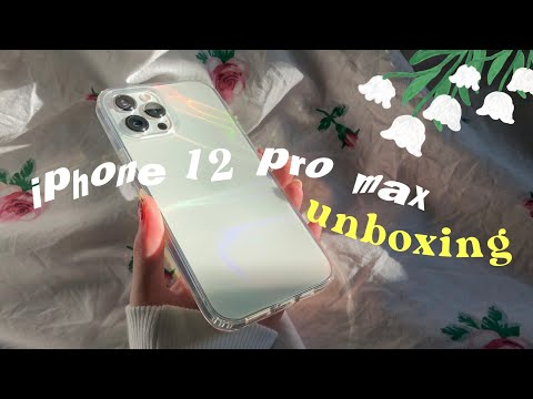 (HD) Unboxing🍎iphone 12 pro max + cute accessories🧸🌷