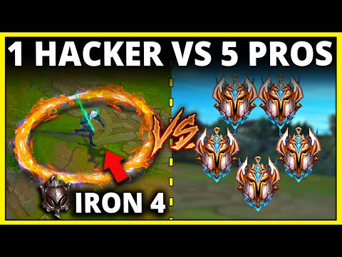 (New) 1 iron player vs. 5 challengers, but the iron player is hacking (150+ kills) - league of legends