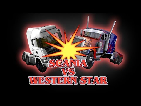 (VFHD Online) Ets 2 - scania (galvatron) vs western star (optimus prime) - transformers - peterbilt 389