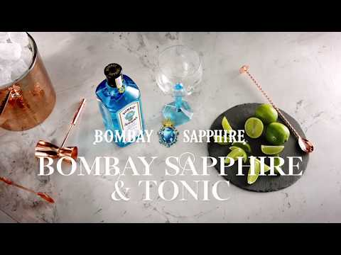 (HD) Bombay sapphire gin and tonic [cocktail recipe]