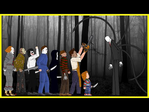 (New) Slender man vs it pennywise vs jason voorhees, freddy, michael, leatherface, chucky, ghostface, jeff