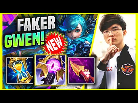(New) Faker tries new champion gwen mid! - t1 faker plays gwen mid vs ekko! | faker gwen mid gameplay