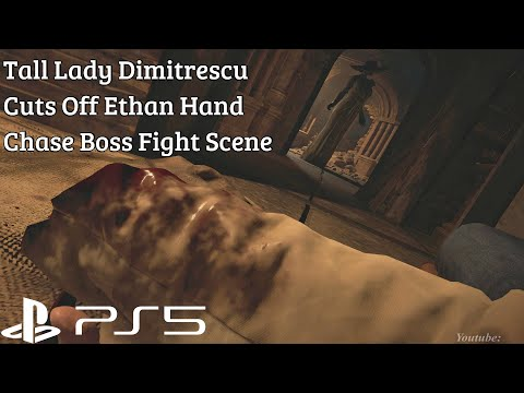 (New) Resident evil 8 village - lady dimitrescu chase boss fight scene e cut off hand (ps5 4k ultra hd)