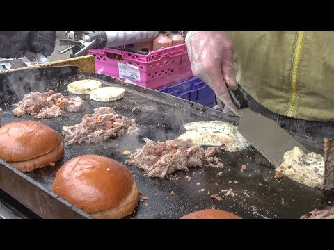 (New) Burger of duck pulled meat and french melted cheese. london street food