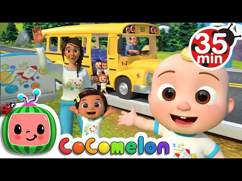 (New) Wheels on the bus (school edition) + more nursery rhymes e kids songs - cocomelon