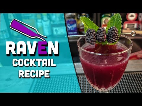 (HD) The raven cocktail - a rum smash drink with blackberries