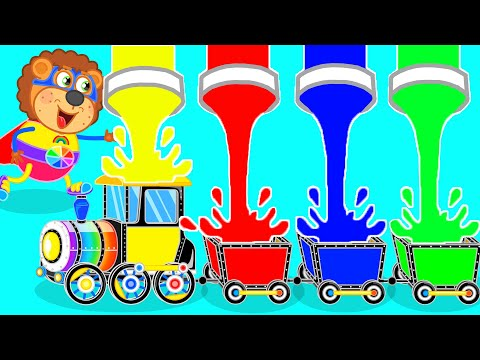 (Ver Filmes) Learn colors and make diy cardboard train | lion family | cartoon for kids